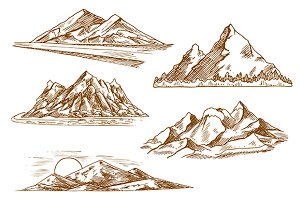 Mountain landscapes engraving sketch