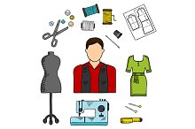 Fashion designer with sewing tools