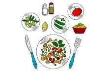 Vegetarian salad with ingredients