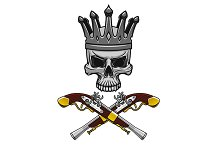 Cartoon crowned pirate skull