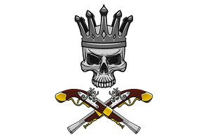 Cartoon crowned pirate skull