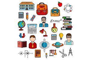 School supplies and teacher icons