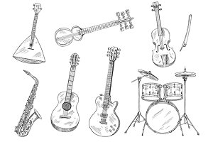 Classic musical instruments set