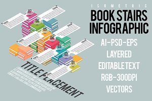 Isometric Book Stairs Infographic