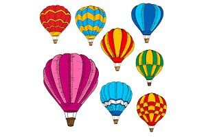 Hot air balloons sketches set