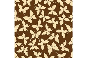 Butterfly silhouettes brown pattern
