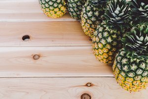 Pineapple and Wood Background  1