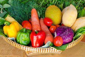 organic food with vegetables