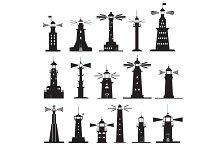 Set Icons of Lighthouses