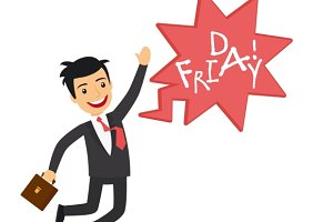 Happy businessman on Friday