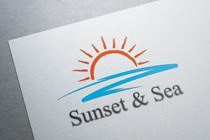 Sunset & Sea Logo Template