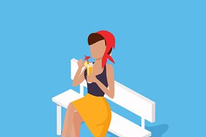 Recreation Woman on Bench with Juice
