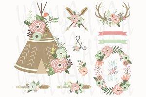 Flower Teepee Antlers Set