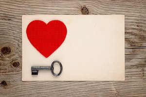 Red heart and vintage key