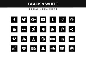 Black & White Social Media Icons
