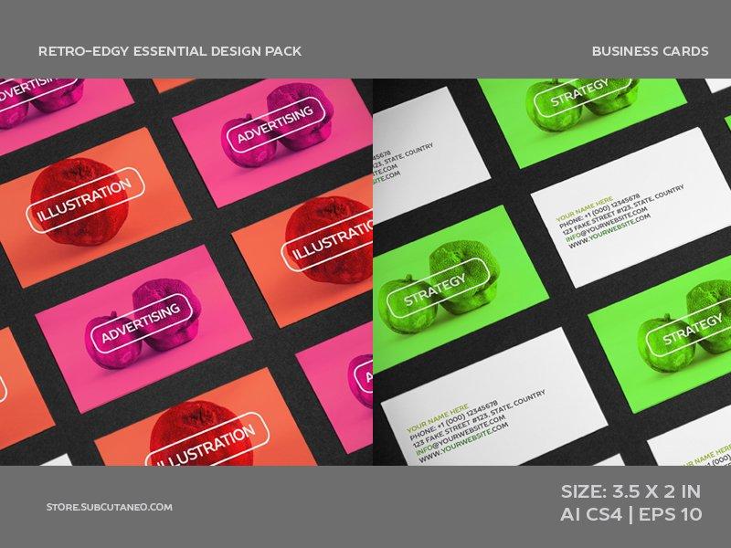 RETRO-EDGY BUSINESS CARD DESIGN (AI) ~ Web Elements ~ Creative Market