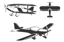 Aircraft and airplane set vector