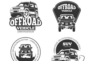 Suv Car Vector Logo Set Graphics Creative Market