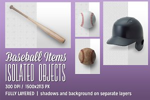 4 Baseball Items Isolated