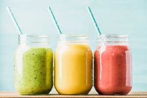 Freshly blended fruit smoothies