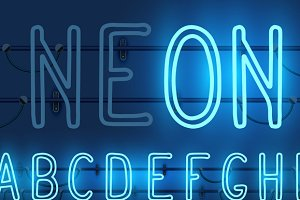 3 colors of neon alphabet letters