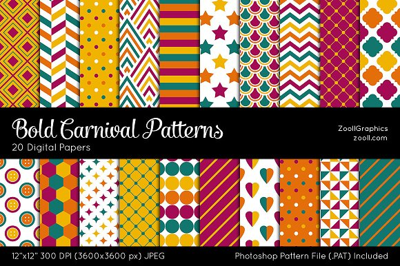 bold carnival digital papers graphic patterns creative market