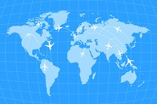 Airline routes on worldwide map