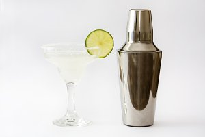 Margarita cocktail and shaker
