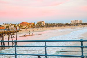 Beach Santa Monica pier at sunset