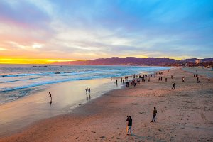 Beach Santa Monica pier at sunset
