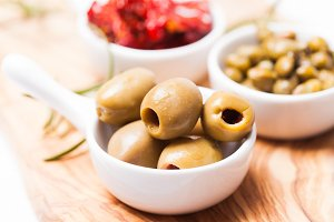 Marinated olives close up