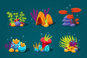 Set of cartoon algae