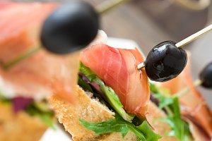 Spanish serrano ham skewer