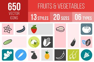 650 Fruits & Vegetables Icons