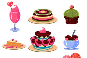 Colourful dessert icons