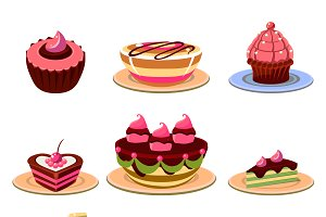 Colourful and tasty dessert icons