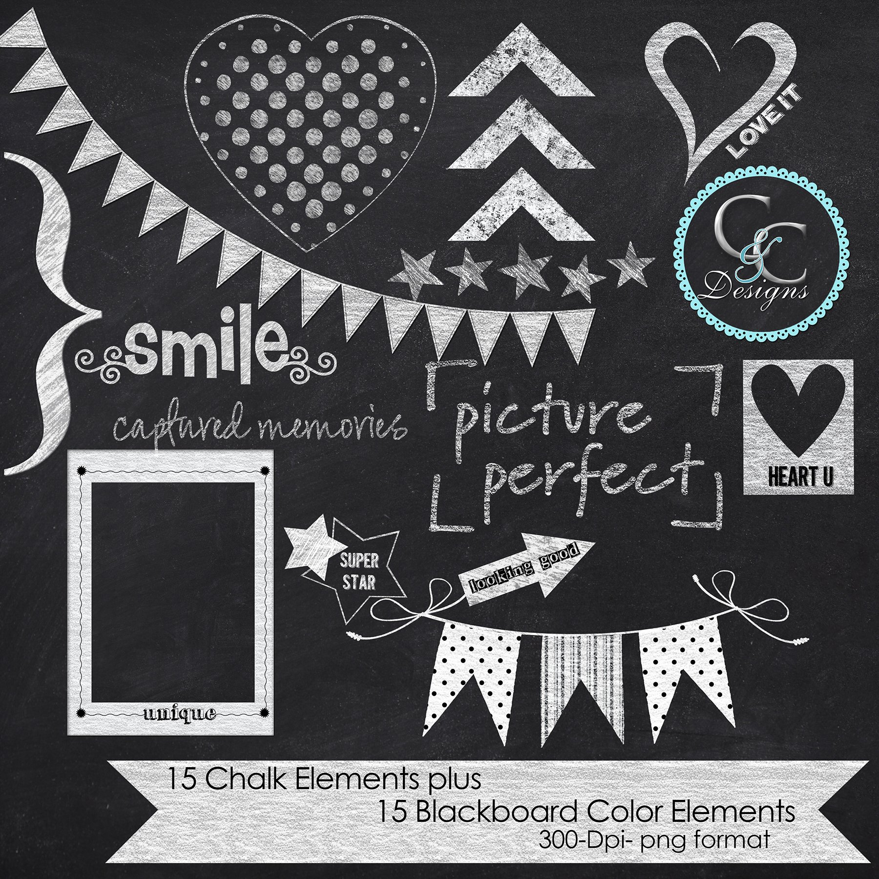 30 Chalkboard Elements Clip Art Graphic Objects