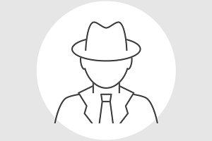 Detective avatar line icon