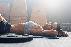 Muscular female relaxing