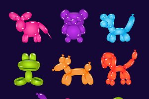 Animal-shaped balloons set