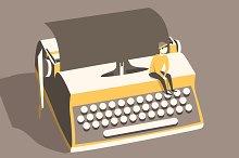 Man on vintage typewriter