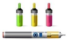 Vapor e-cigarette and juice bottle