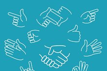 Business hand gestures linear icons