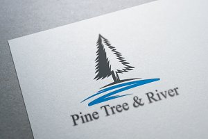 Pine Tree and River Logo Template