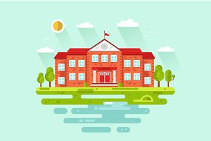 Landscape with School Vector