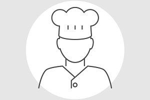 Cook avatar line icon