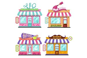 Shops with Signboards Vector