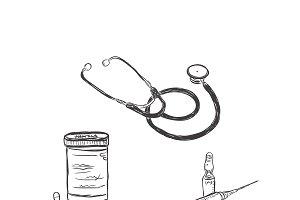 stethoscope, pills, medicine,