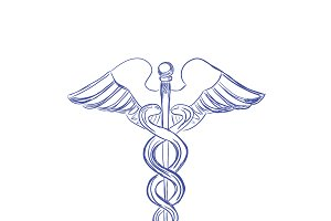 Medical caduceus sign, sketch