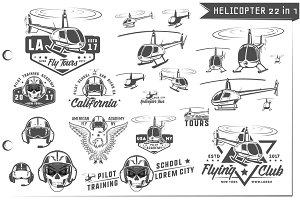 22 in 1 Helicopter emblems and logo